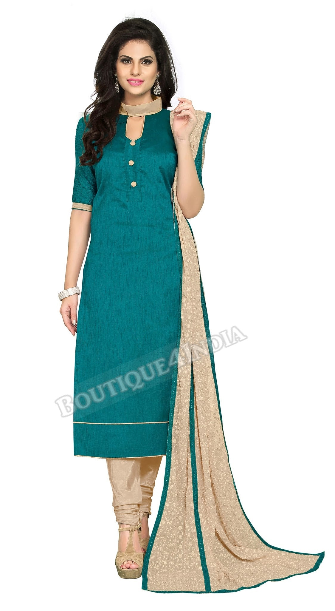 Silky Teal Color Chanderi Embroidered Straight Cut Salwar Suit