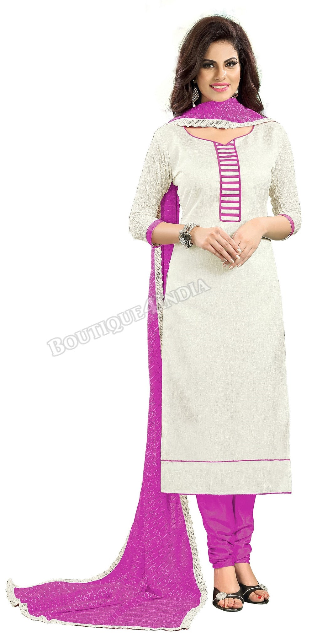 Off white and purple Color Chanderi Embroidered Straight Cut Salwar Suit
