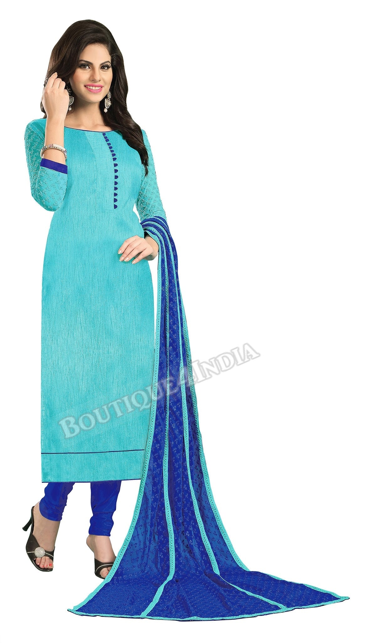 Shades of Blue Color Chanderi Embroidered Straight Cut Salwar Suit