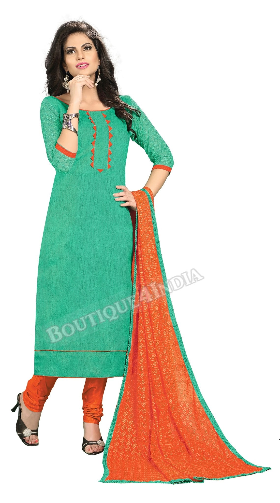 Emarald Color Chanderi Embroidered Straight Cut Salwar Suit