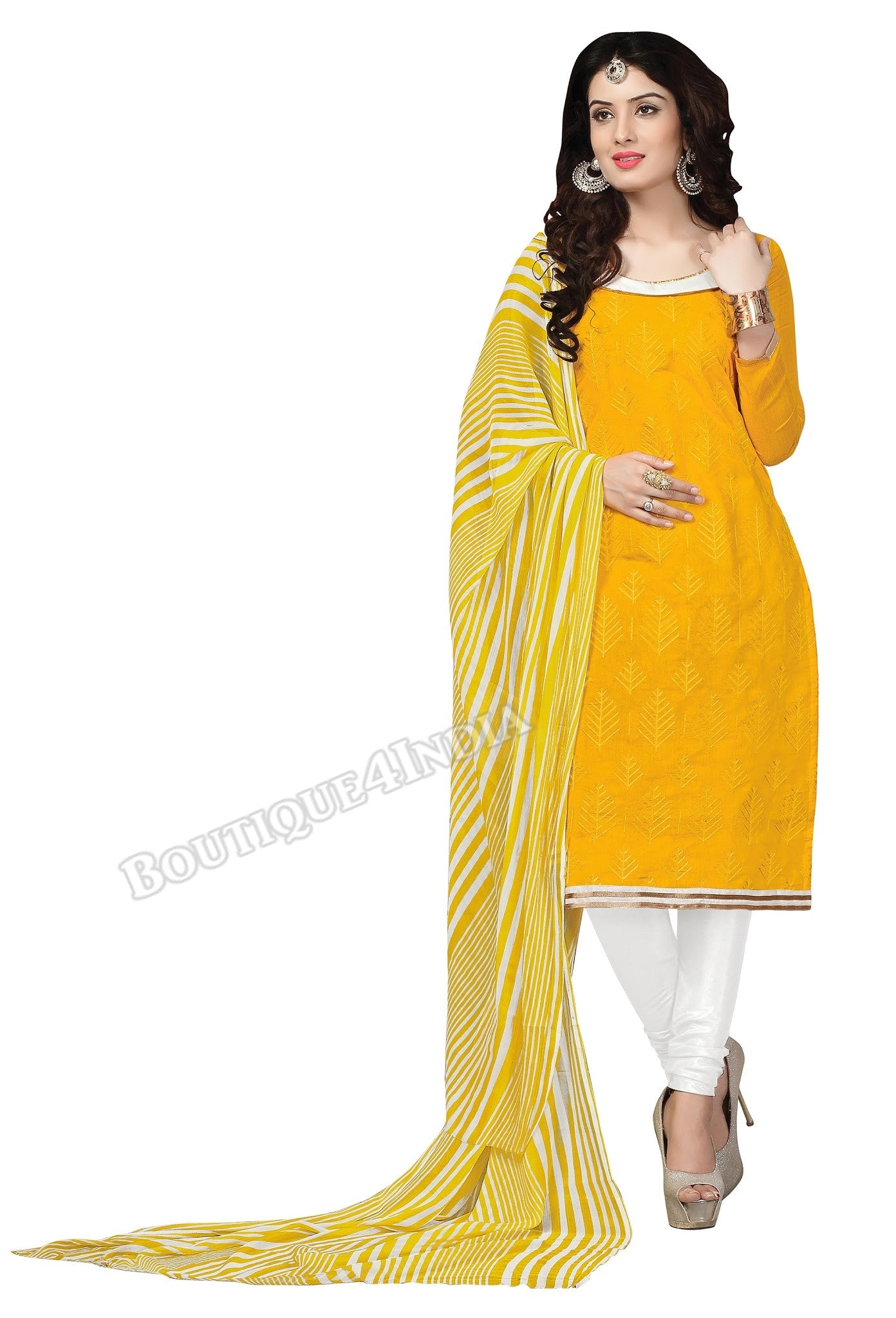 Yellow white Embroidered Color Chanderi Straight Cut Salwar Suit