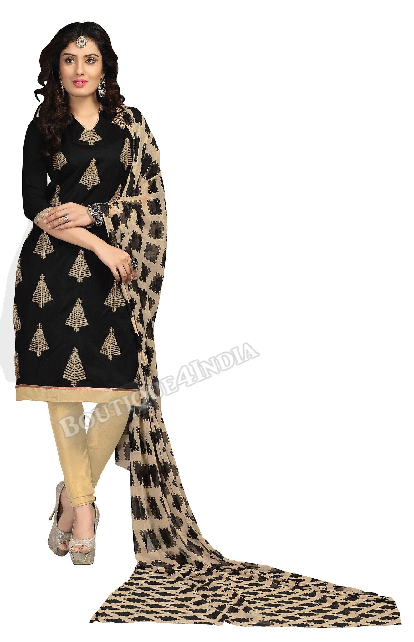 Black Beige Printed Color Chanderi Embroidered Straight Cut Salwar Suit
