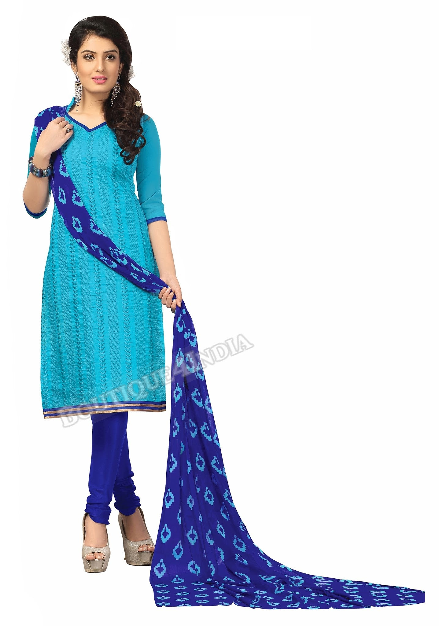 Blue Shades printed Chanderi Embroidered Straight Cut Salwar Suit