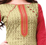 Beige Embroidered Patch worked Cotton Straight Cut Salwar Suit