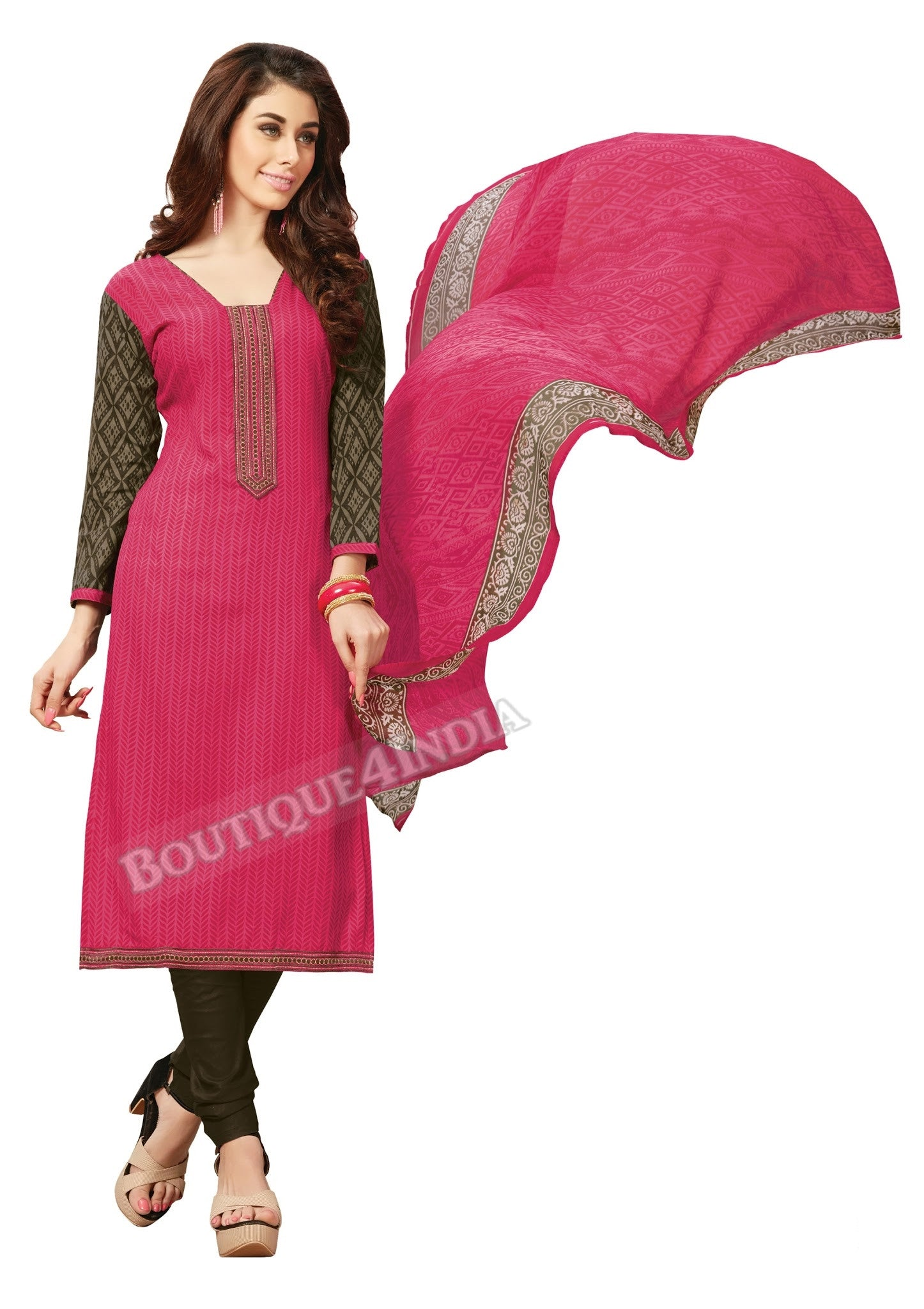 Pink Embroidered Patch worked Cotton Straight Cut Salwar Suit