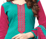 Turquoise Embroidered Patch worked Cotton Straight Cut Salwar Suit