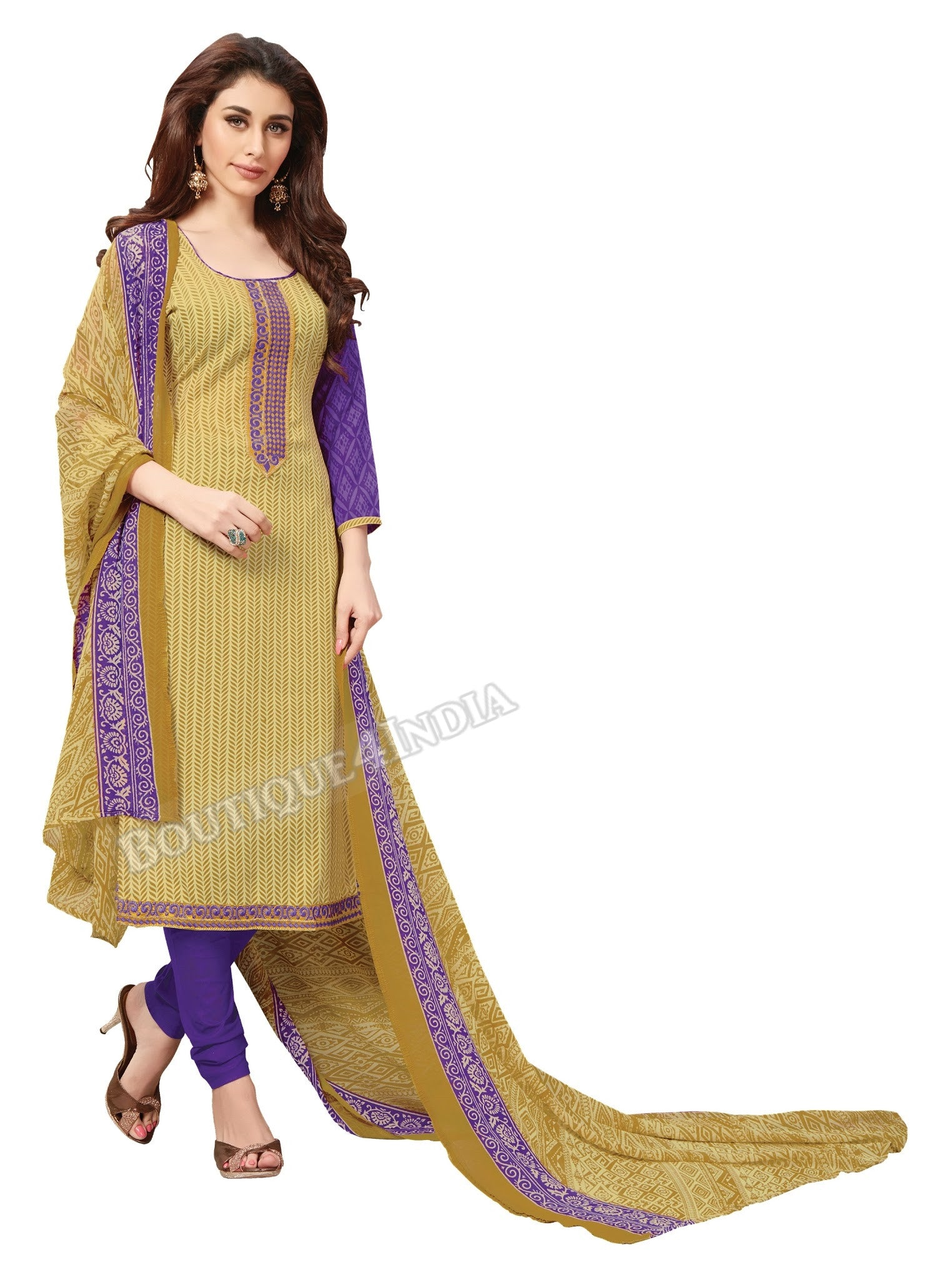 Dark Beige and pruple Embroidered Patch worked Cotton Straight Cut Salwar Suit