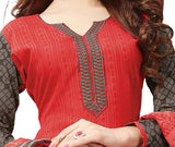 Rasberry Embroidered Patch worked Cotton Straight Cut Salwar Suit