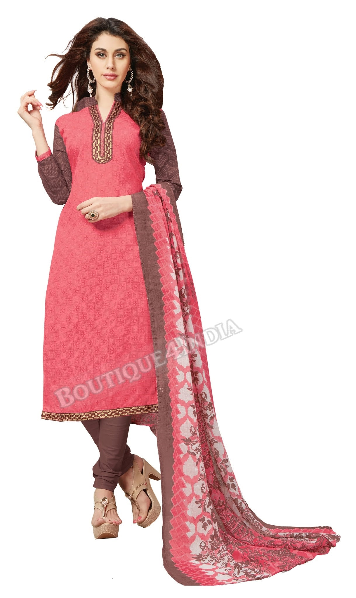 Light pink Embroidered Patch worked Cotton Straight Cut Salwar Suit