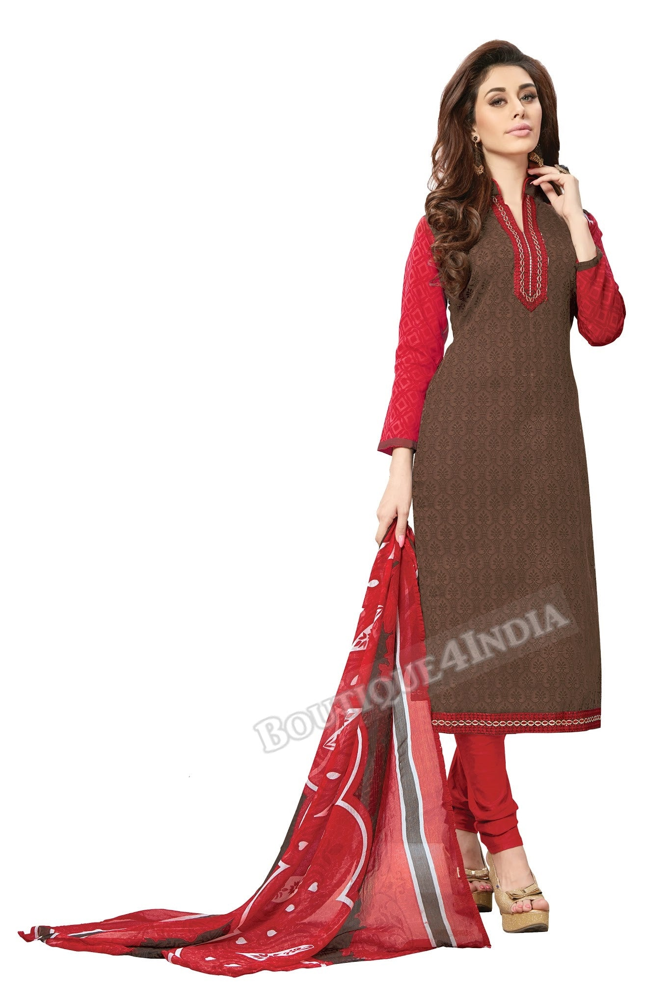Brown Embroidered Patch worked Cotton Straight Cut Salwar Suit