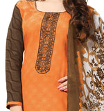 Orange Embroidered Patch worked Cotton Straight Cut Salwar Suit