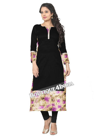 Black and purple Crepe Casual wear Printed Kurti