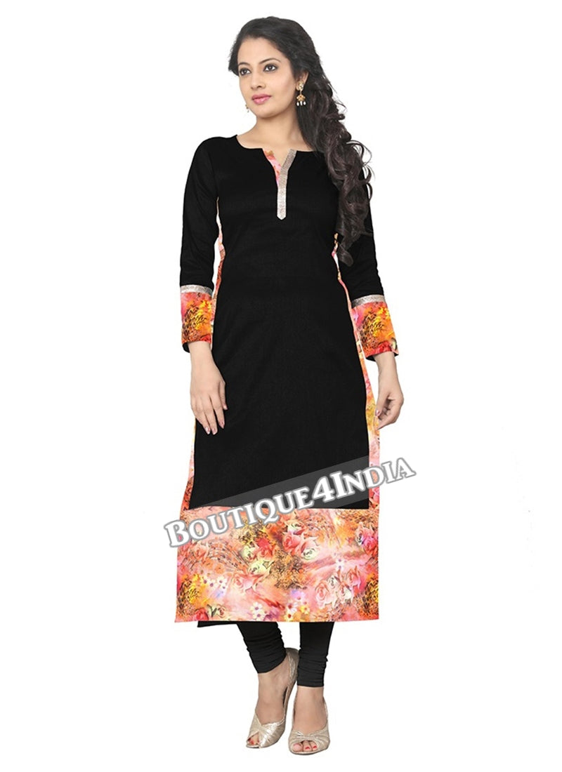 Black and orange Crepe Casual wear Printed Kurti