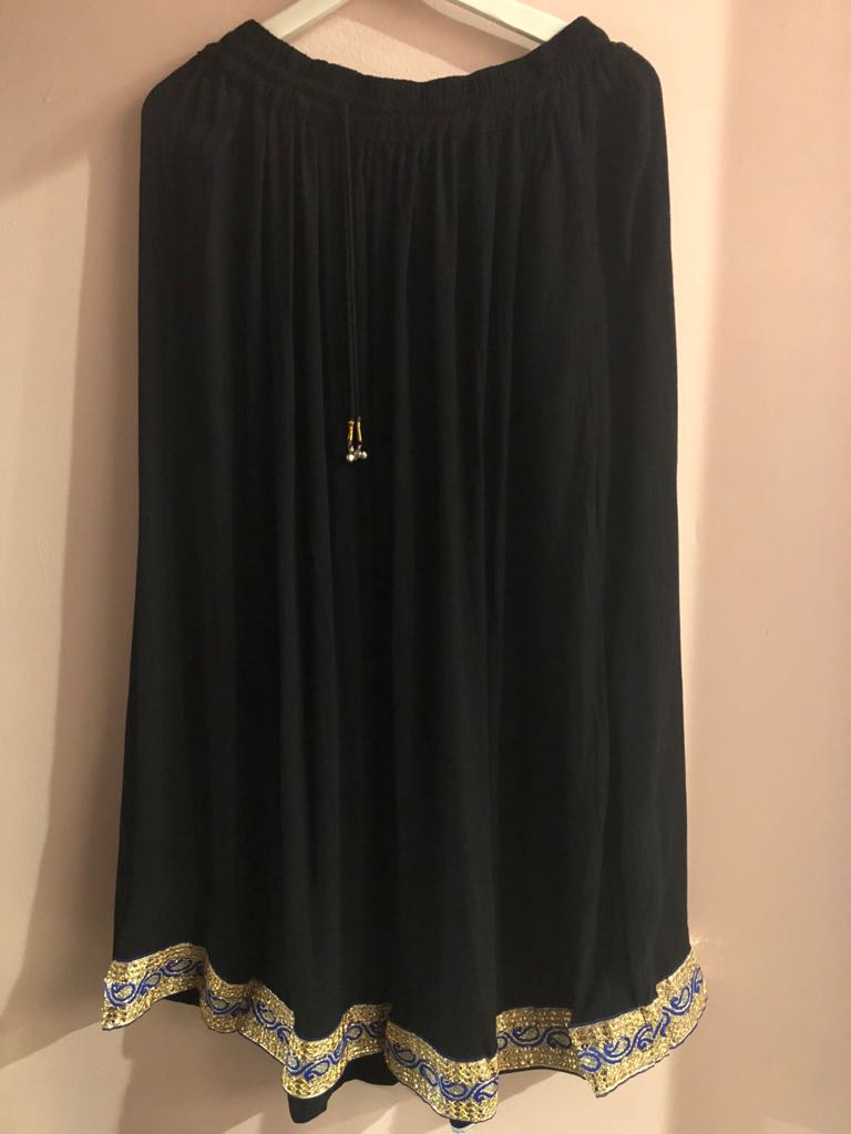 Casual Indian Black Zari skirt