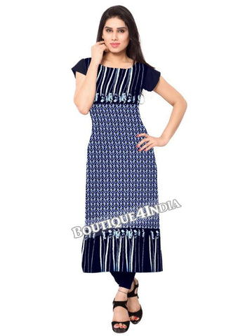 Shades of blue Crepe Casual wear Printed Kurti