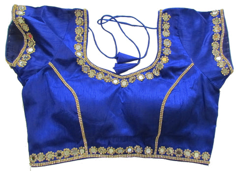 Blue dupion silk brocade padded mirror work blouse
