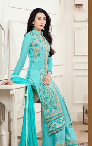 Salwar - Heavy Work Designer Wedding Collection - Breezy Blue And Golden Grand And Graceful Heavy Embroidery And Lace Work Unique Collection For Party / Wedding / Festival / Special Occasion - Boutique4India Inc.