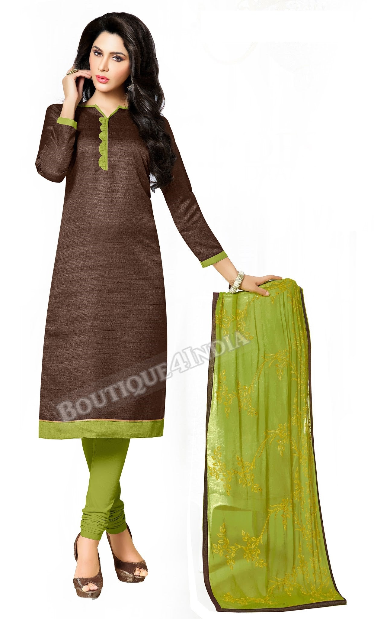 Chocolate Color Bhagalpuri style Straight Cut Salwar Suit