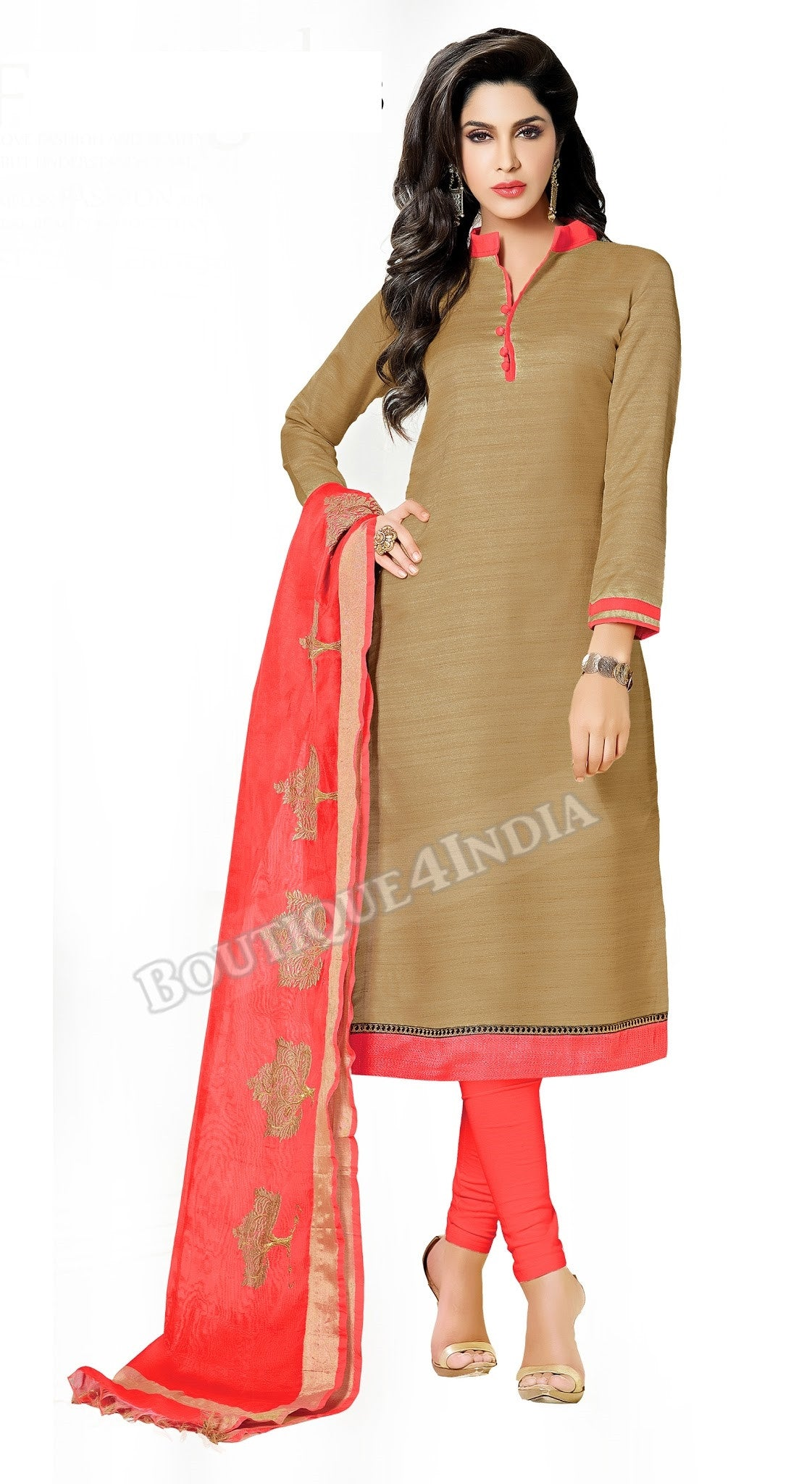 Light brown Color Bhagalpuri style Straight Cut Salwar Suit