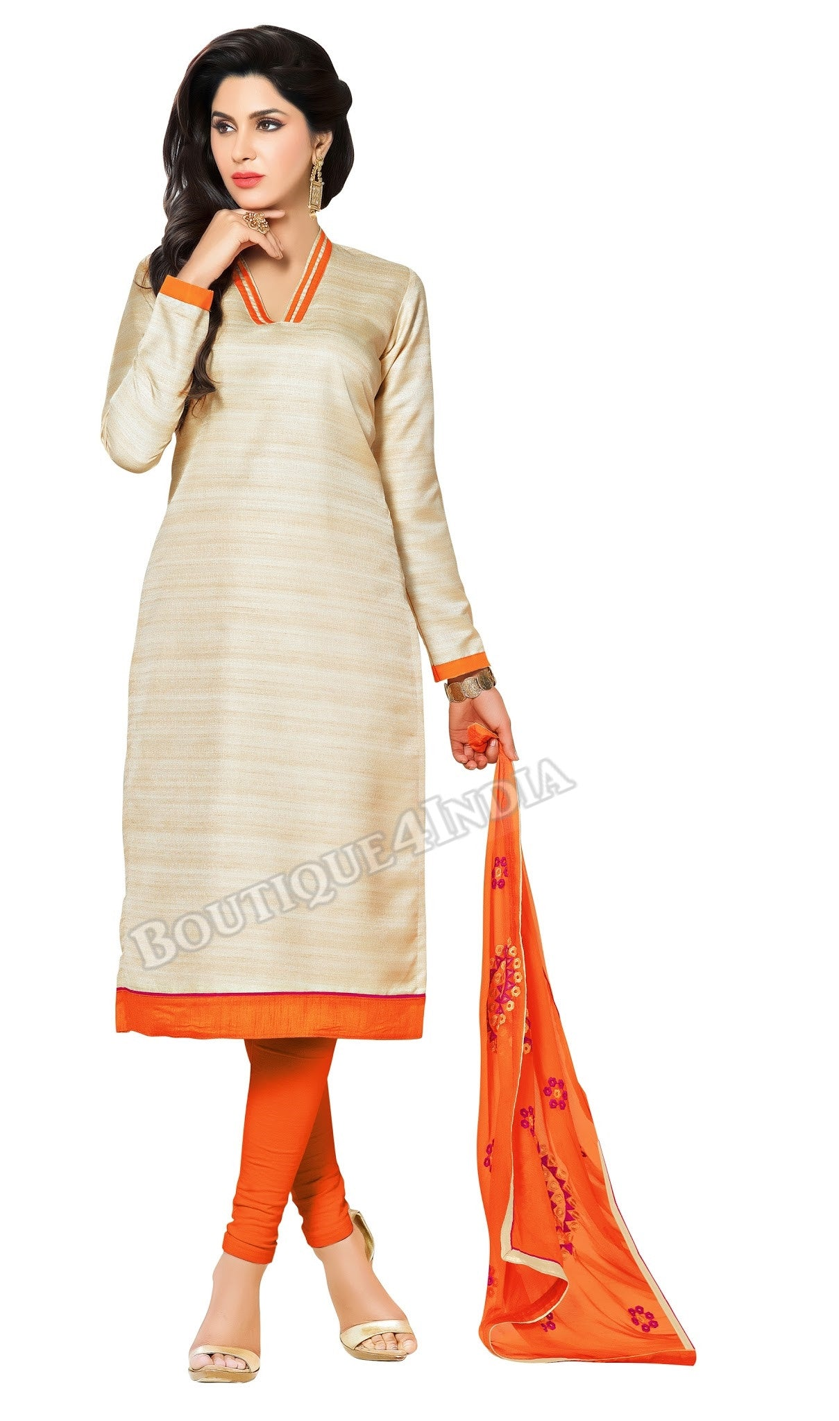 Beige and Orange Color Bhagalpuri style Straight Cut Salwar Suit