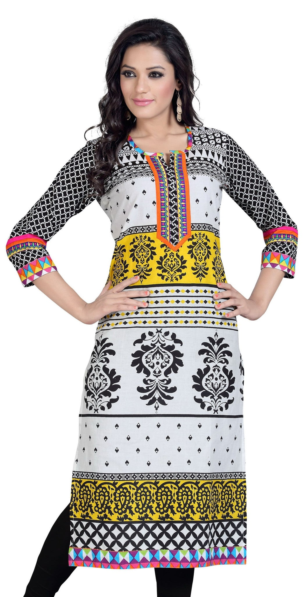 Beautiful long tunic in Yellow, White, Black and Orange Color - Boutique4India Inc.