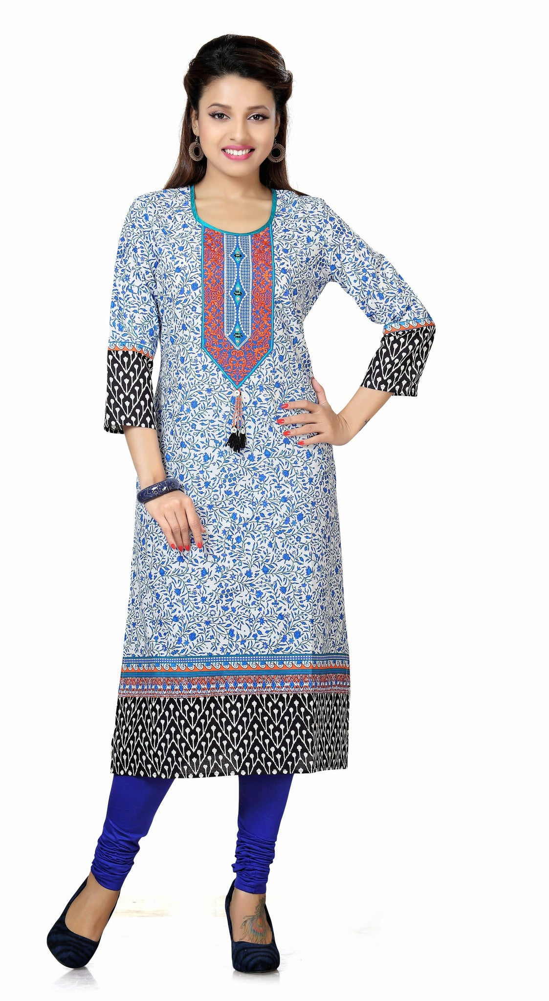 Elegant fabric and print contrast in Blue and Orange - Boutique4India Inc.