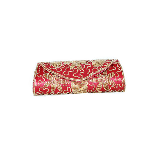 Red color Dupion Silk Clutch Bag with beads and Stone work