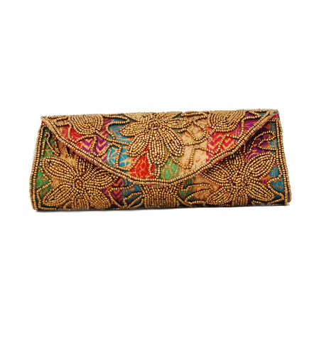 Multicolor Dupion Silk Clutch Bag with beads and Stone work - Boutique4India Inc.