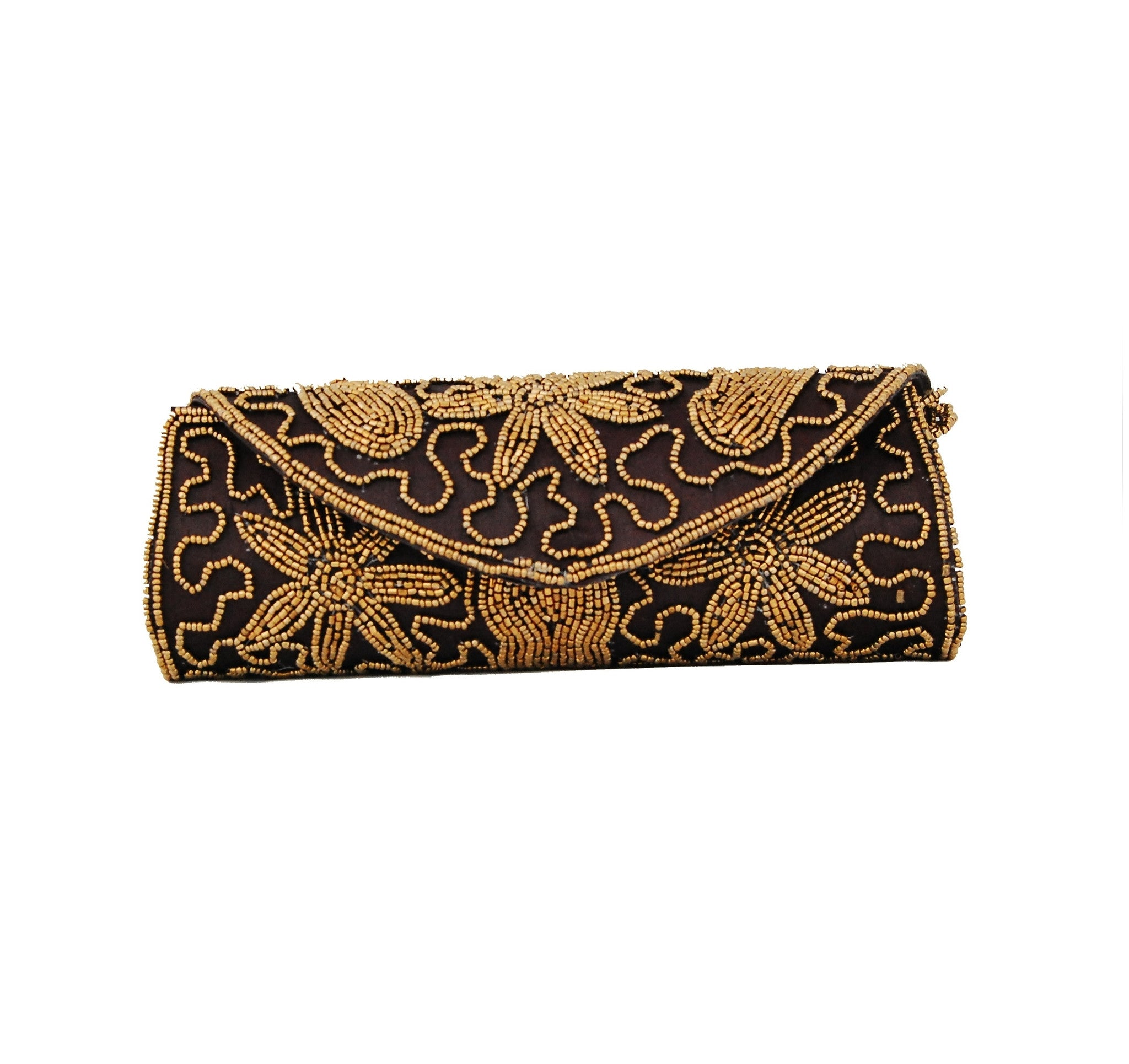 Black color Dupion Silk Clutch Bag with beads and Stone work - Boutique4India Inc.