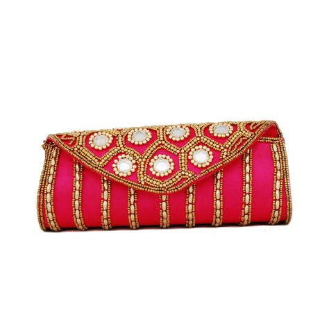 Pink color Dupion Silk Clutch Bag with beads and Stone work