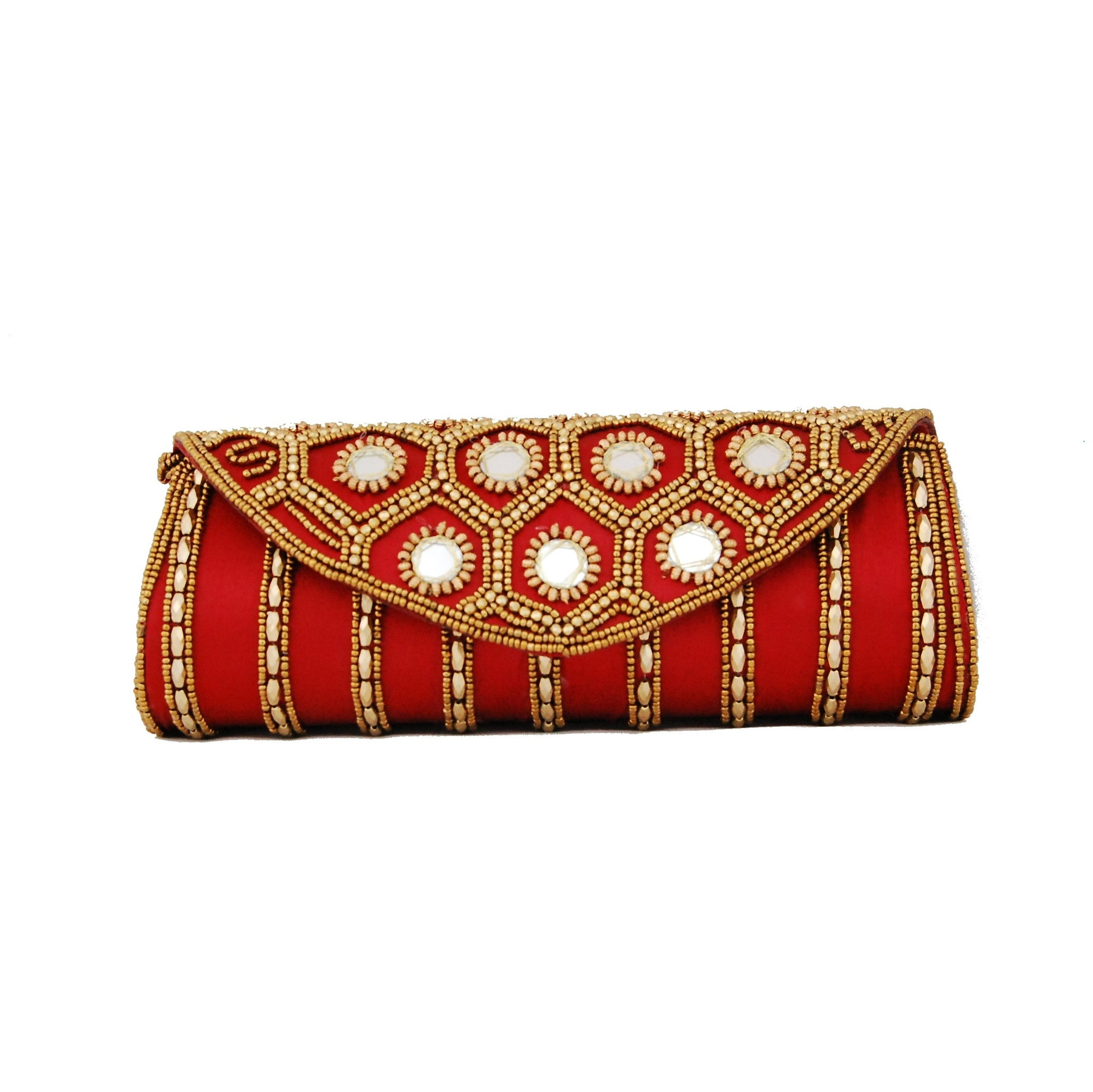 Maroon color Dupion Silk Clutch Bag with beads and Stone work - Boutique4India Inc.