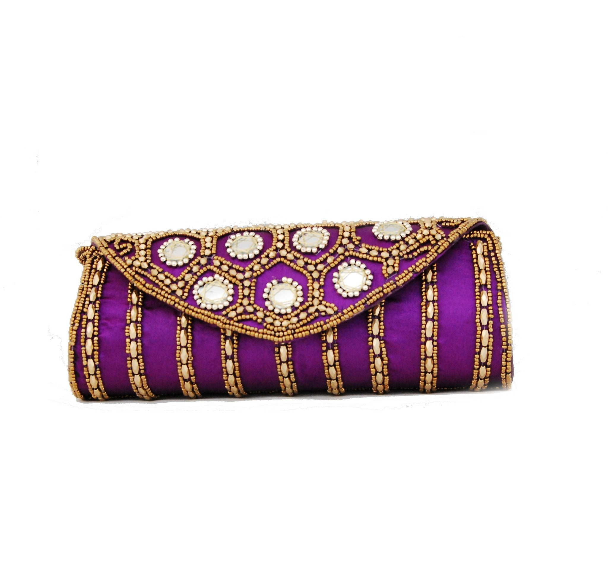 Purple color Dupion Silk Clutch Bag with beads and Stone work