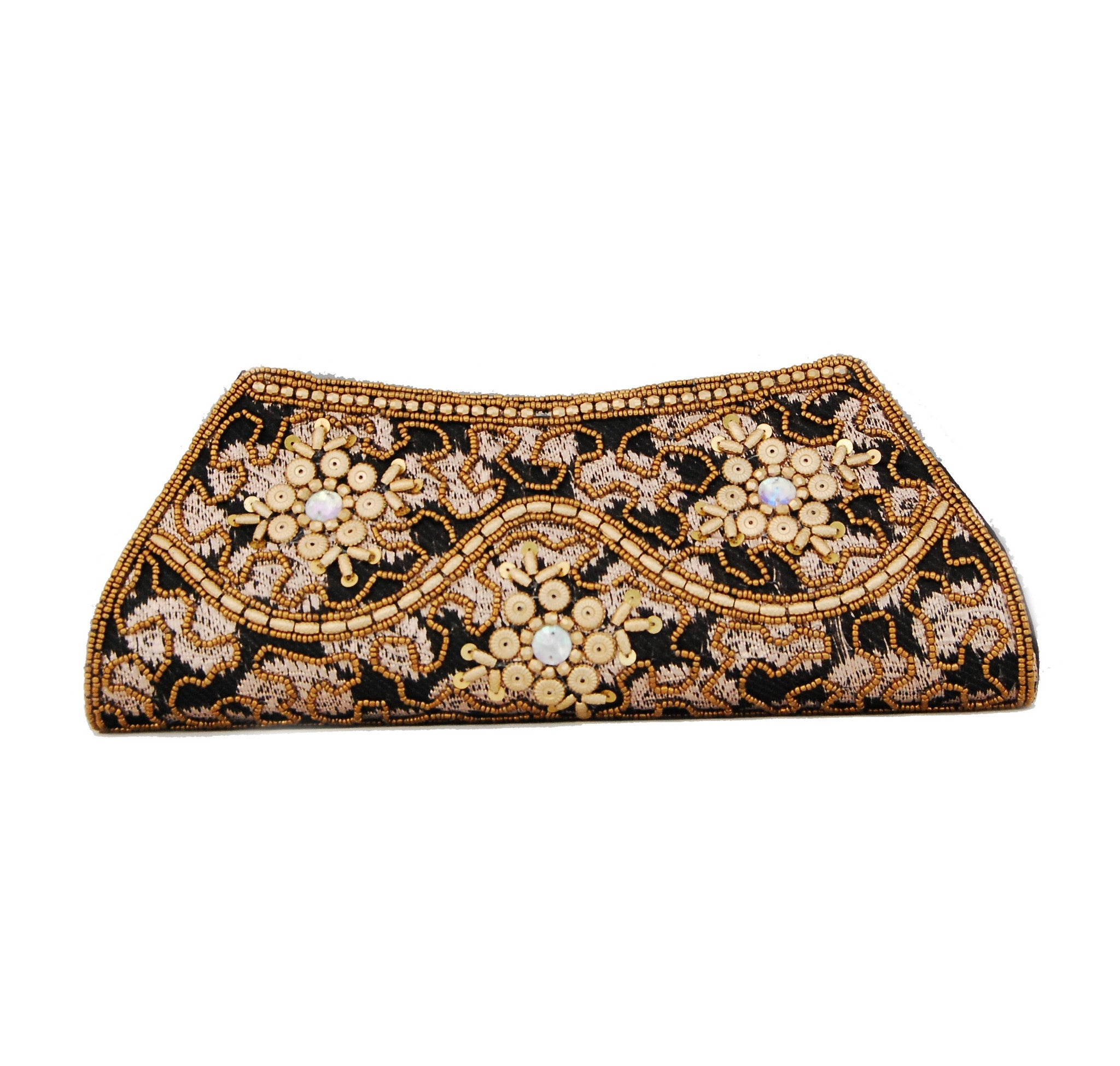 Black color Dupion Silk Clutch Bag with beads and Brocade Fabric - Boutique4India Inc.