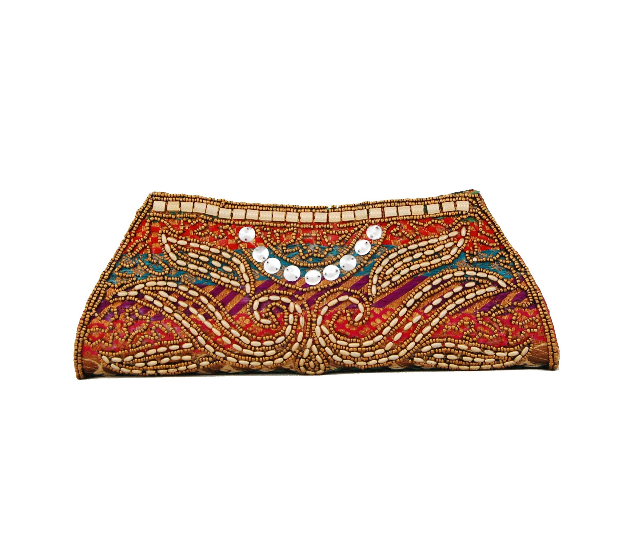 Multicolor Dupion Silk Clutch Bag with beads and Brocade Fabric - Boutique4India Inc.