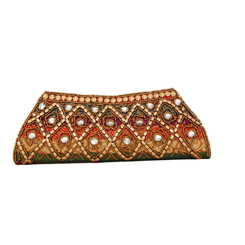 Multicolor Dupion Silk Clutch Bag with beads  and Brocade Fabric1 - Boutique4India Inc.