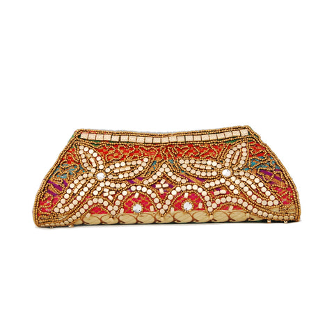 Multicolor  Dupion Silk Clutch Bag with beads  and Brocade Fabric2 - Boutique4India Inc.