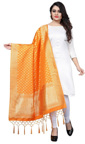 Orange Banarasi Art Silk Dupatta