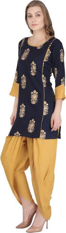 Blue Rayon Straight Printed Kurti With Dhoti
