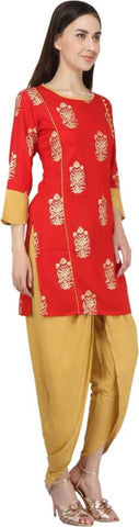 Red Rayon Straight Printed Kurti With Dhoti
