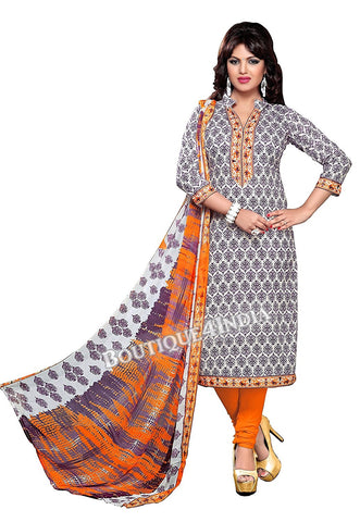 Purple and Orange Color Cotton printed Straight Cut Salwar Suit