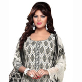 Black and white Color Cotton printed Straight Cut Salwar Suit