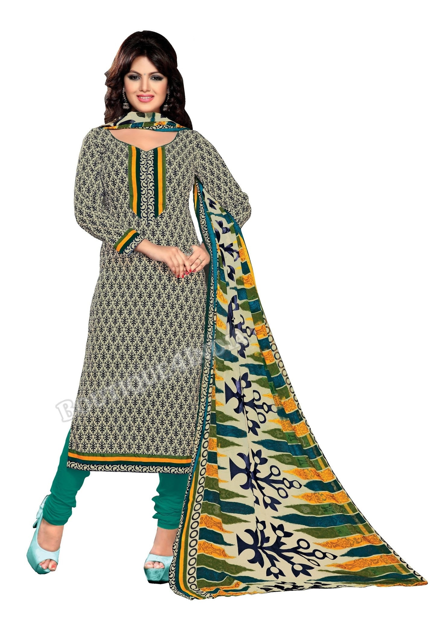 Beige,Blue and Rama Color Cotton printed Straight Cut Salwar Suit