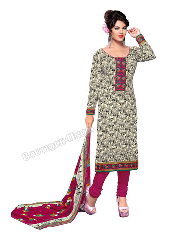 Beige,Black,Pink Color Cotton printed Straight Cut Salwar Suit