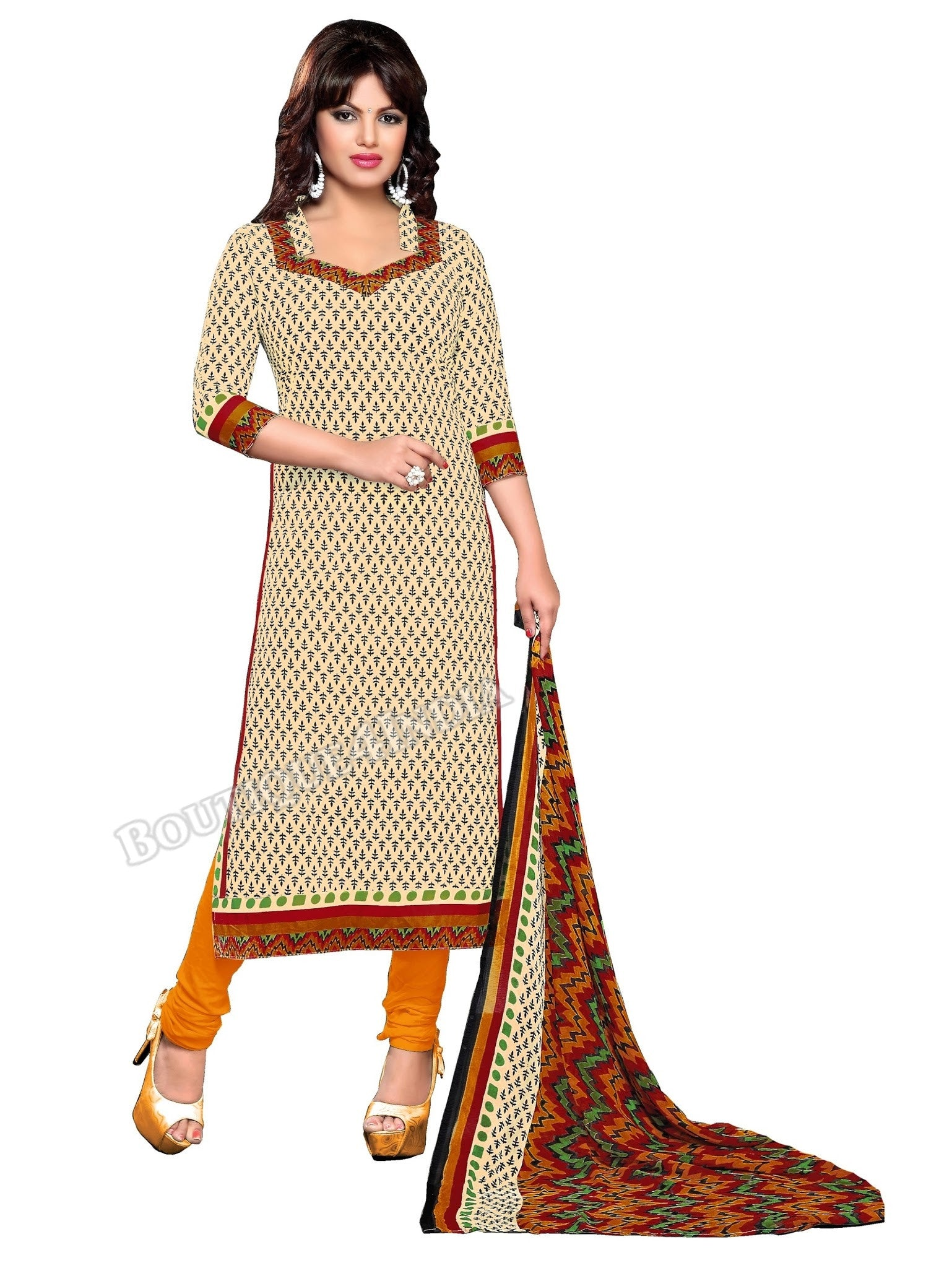 Beige, black and green Color Cotton printed Straight Cut Salwar Suit