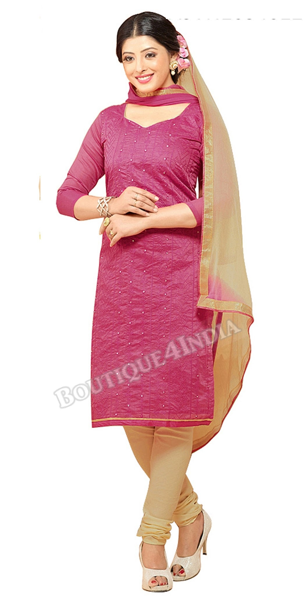 Magenta Color Chanderi Embroidered Straight Cut Salwar Suit