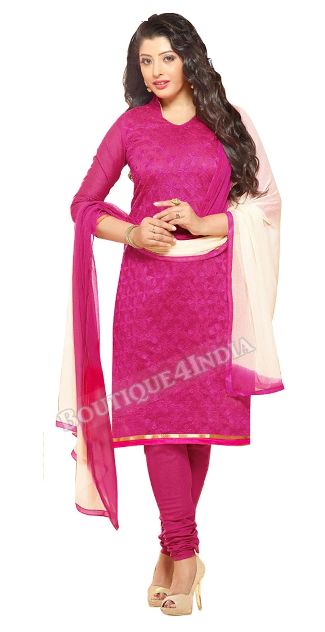 Rose Color Chanderi Embroidered Straight Cut Salwar Suit