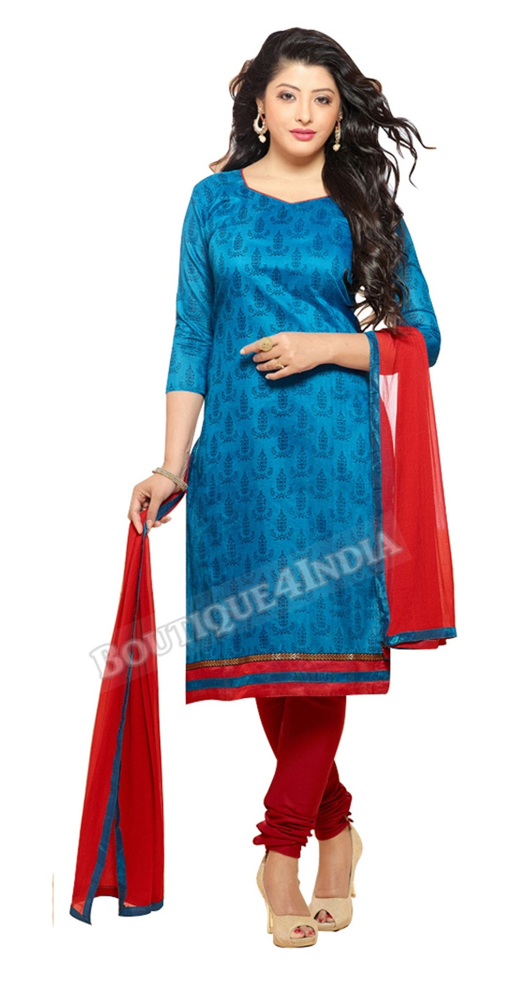 Blue Color Chanderi Embroidered Straight Cut Salwar Suit