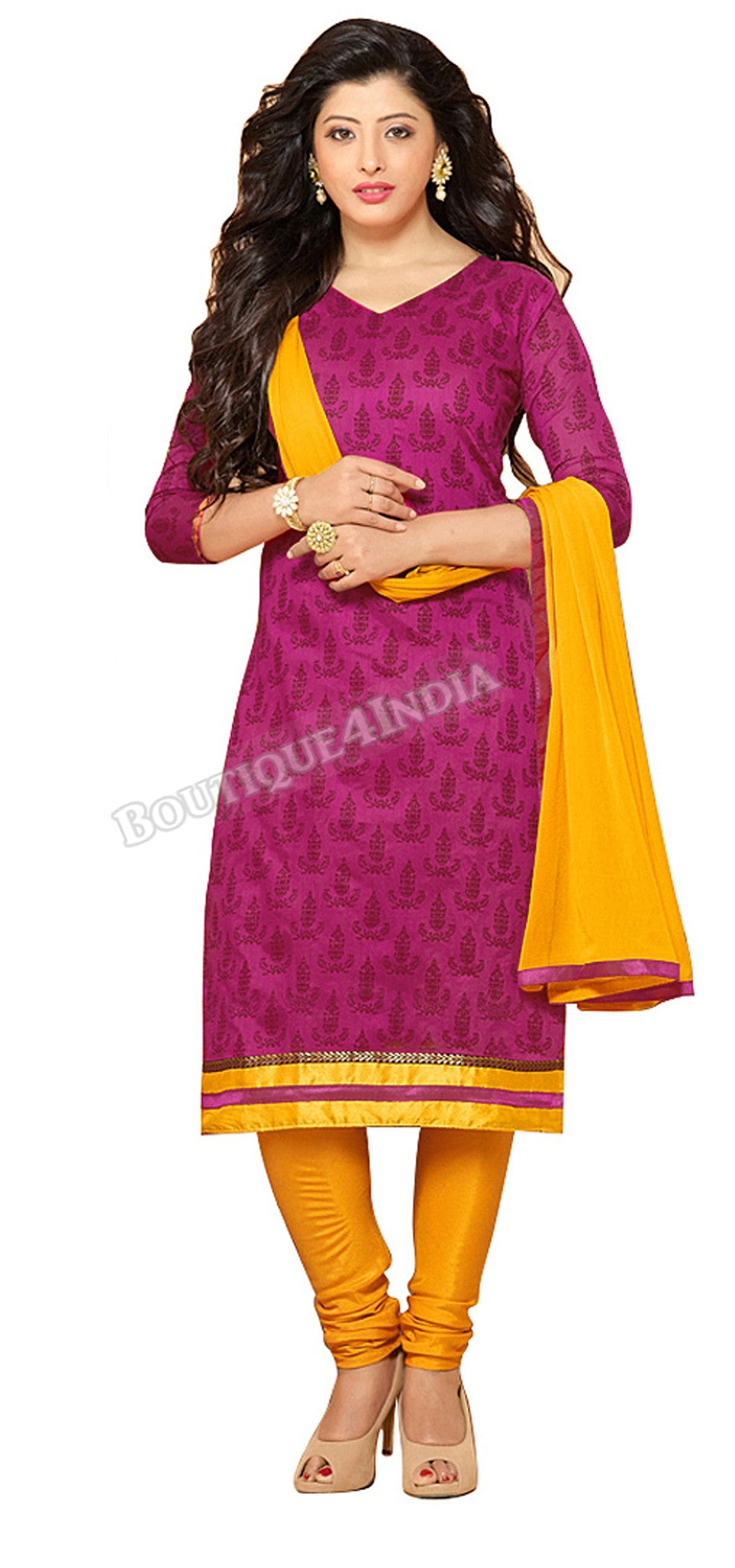 Red-violet Color Chanderi Embroidered Straight Cut Salwar Suit