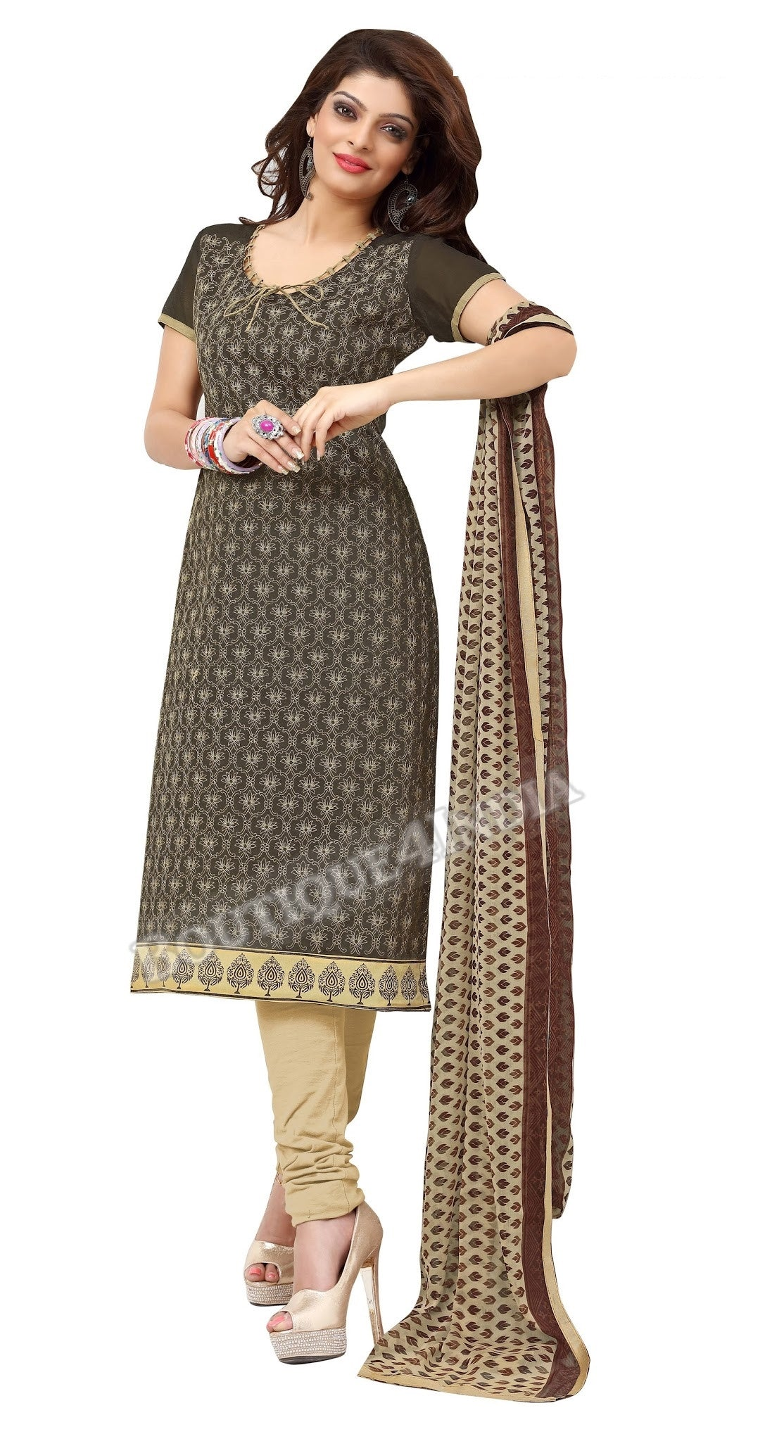 Dark Olive Color Chanderi Embroidered Straight Cut Salwar Suit