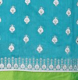 Light Blue Color Chanderi Embroidered Straight Cut Salwar Suit